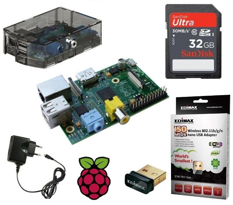 Raspberry-Pi-B-Model-512-MB-Gehaeuse-Netzteil-32GB-Speicherkarte-Edimax