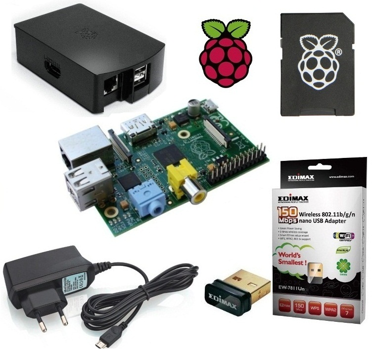 Raspberry-Pi-Model-B-512MB-UK-Version-1-2-Netzteil-Gehaeuse-NOOBS-Edimax